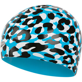 speedo Slogan Bonnet à motif Enfant, turquoise/black/white
